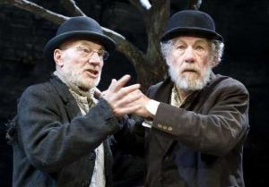Patrick Stewart and Ian McKellan as Vladimir and Estragon in Beckett's Waiting for Godot