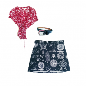 Red + white floral print wrap blouse (with red tank top), navy blue beetle skirt, navy blue belt, + clompy walking boots